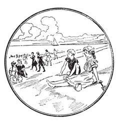 A scene at the beach vintage vector