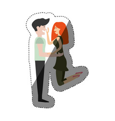 couple romantic lovely shadow vector image vector image