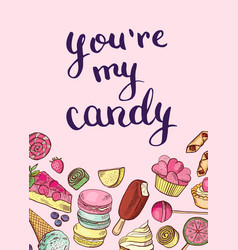 hand drawn sweets card or poster vector image