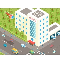 Isometric hospital and ambulance building with vector image vector image