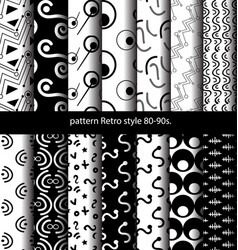 set pattern retro style 80-90s vector image vector image