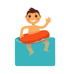 cheerful boy in blue water with life buoy vector image vector image