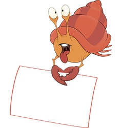 Crab with the empty blank cartoon vector image