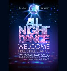 Disco ball background poster all night dance vector
