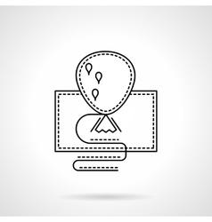 Festive balloon black flat line icon vector image vector image