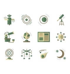 Flat simple icons for Astronomy vector image vector image