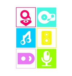 Music icons in neon colors flat design vector image
