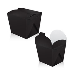 set of black blank wok box mockup 3d vector image