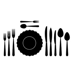 set of tableware on white background vector image