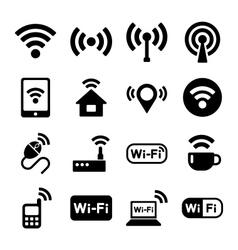Wireless technology Wi-Fi web icons set vector image