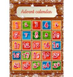 christmas childish advent calendar on wooden vector image