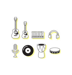 music instruments icon sets vector image