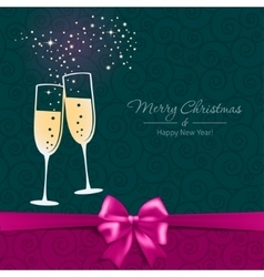 New Year card with glasses of champagne vector image vector image