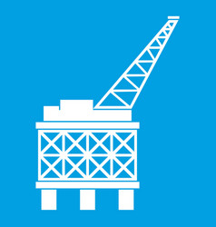oil platform icon white vector image