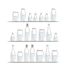 Set of bottles sketch on shelves for your design vector image vector image