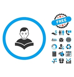 Student Study Book Flat Icon with Bonus vector image
