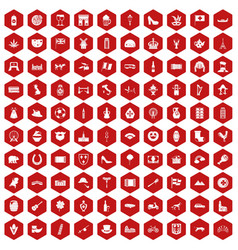 100 europe icons hexagon red vector image