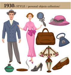 1930 fashion style man and woman personal objects vector