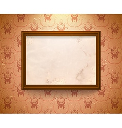 Aged frame on wall vector