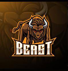 Angry bull mascot logo design vector