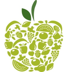 apple with fruits and vegetables pattern on white vector image