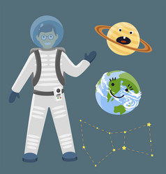 Astronaut space landing planets spaceship solar vector
