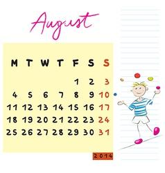 august 2014 kids calendar vector image vector image