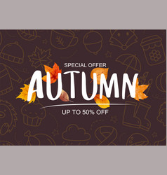 autumn sale banner template background vector image