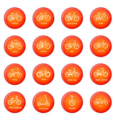 Bicycle types icons set red vector