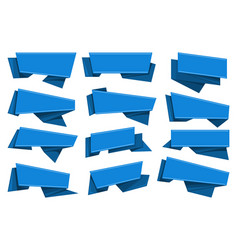 blue origami ribbons set vector image