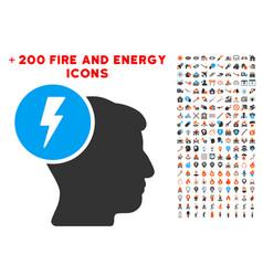 brain electricity icon with bonus fire set vector image
