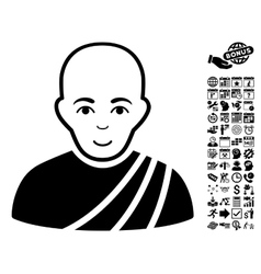 Buddhist Monk Flat Icon With Bonus vector