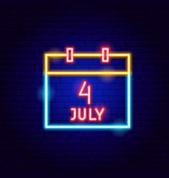 calendar 4 july neon sign vector image