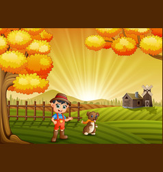 Cartoon little farmer with his dog in the farm bac vector