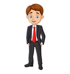 cartoon young businessman posing vector image
