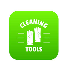 Cleaning tools icon green vector