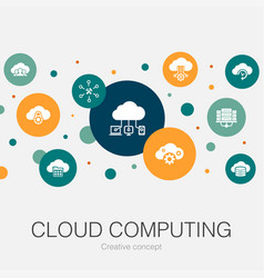 Cloud computing trendy circle template with simple vector