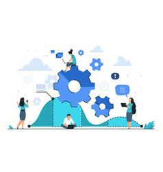 cogwheel business concept teamwork and people vector image