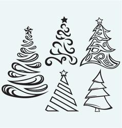 Collection christmas fur-trees vector