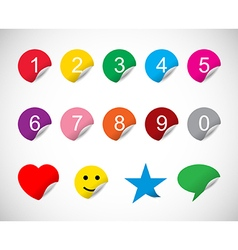 Colorful stickers with numbers vector image