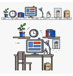 Creative designer workspace in thin line flat vector