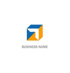 cube arrow sign logo vector image