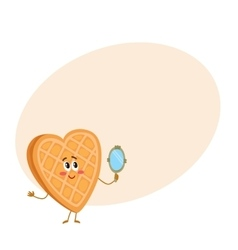 Cute and funny waffke wafer character looking vector