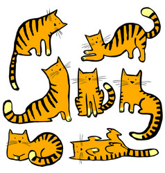 Cute cats set pretty kitty collection childish vector