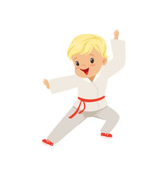 Cute little boy doing karate in kimono kids vector