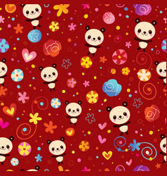 Cute panda bears seamless pattern vector