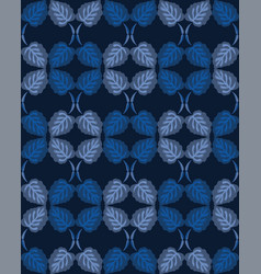 Dark classic blue simple watercolor leaf stripe vector