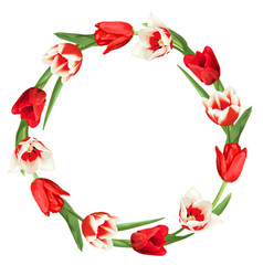 Decorative element with red and white tulips vector