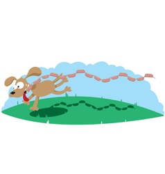 Dog and Sausages vector image