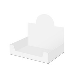 Empty counter top display box mock up - side view vector